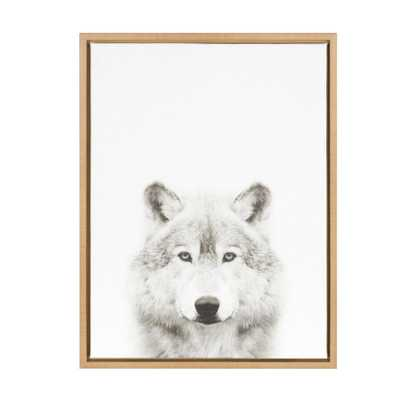 """24 in. x 18 in. """"Wolf"""" by Tai Prints Framed Canvas Wall Art, Natural - Home Depot"""