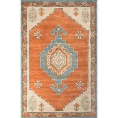 Hand-Tufted Apricot Orange 2 ft. x 3 ft. Tribal Area Rug, Apricot Orange/Adriatic Blue - Home Depot