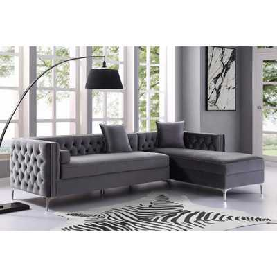 Inspired Home Olivia Grey/Silver Velvet Right Facing Sectional Sofa with Silver Nailhead Trim - Home Depot