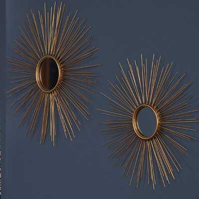 Melora Sunburst Round Metal Wall Mirror - Set of 2 - Wayfair