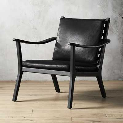 Parlay Black Leather Lounge Chair - CB2