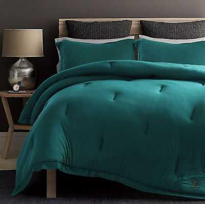 Ivy Bronx Secaucus Rich Ultra-soft Jersey Knit Reversible Comforter Set: Queen - Teal - eBay