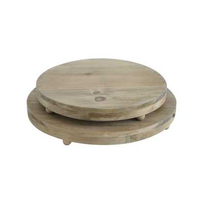 Round Natural Wood Pedestal Trays (Set of 2) - Home Depot