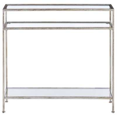 Bella Aged Silver Narrow Glass Console Table - Home Depot