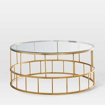 Zelda Coffee Table, Antique Brass - West Elm