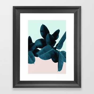 """Blue Leaves Framed Art Print - Scoop Black Mini 10"""" x 12"""" by Printsproject - Society6"""