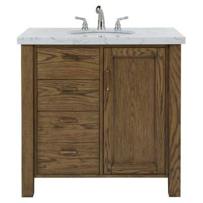 Home Decorators Collection Stanford 36 in. W Single Bath Vanity in Aged Oak with Faux Marble Vanity Top in White with White Basin - Home Depot