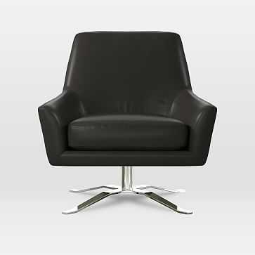 Lucas Swivel Base Chair, Parc Leather, Black - West Elm