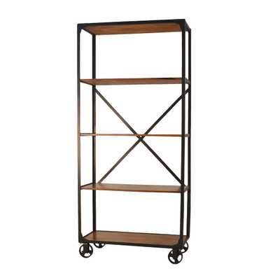 Caileen Chestnut Metal and Wood Caster Bookcase, Brown/Black - Home Depot
