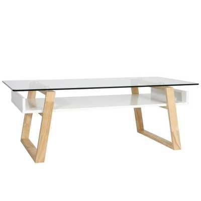 Segovia Natural Glass Top Coffee Table - Home Depot