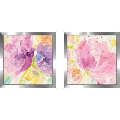 'Spring Abstracts Florals I Crop' 2 Piece Framed Watercolor Painting Print Set - Wayfair