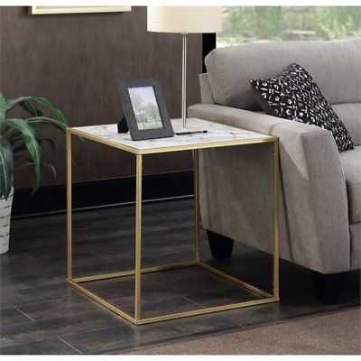 Convenience Concepts Gold Coast Square Faux Marble Top End Table - eBay