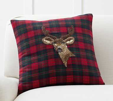 Jeweled Deer Plaid Pillow, 18 Inches, Red Multi - Cover Only - Pottery Barn