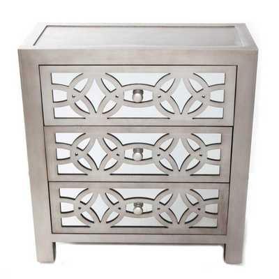 Glam Slam 3-Drawer Silver Cabinet - Home Depot