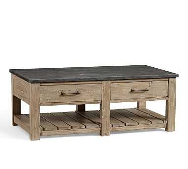 Parker Reclaimed Wood Coffee Table with Bluestone Top - Pottery Barn