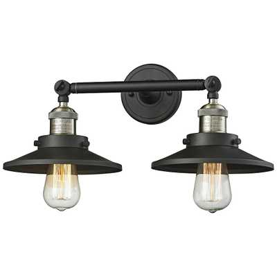 """Railroad 8""""H Black and Brass 2-Light Adjustable Wall Sconce - Style # 40X54 - Lamps Plus"""