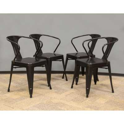 Black Metal Dining Chair (Set of 4) - Home Depot