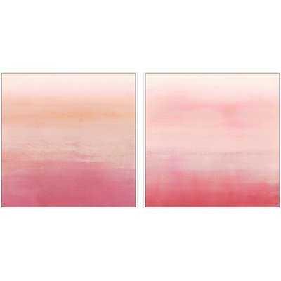 'Pink Ombré' 2 Piece Framed Acrylic Painting Print Set on Canvas - Wayfair