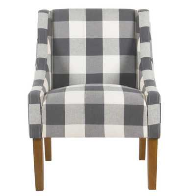 Homepop Blue Buffalo Plaid Modern Swoop Arm Accent Chair - Home Depot