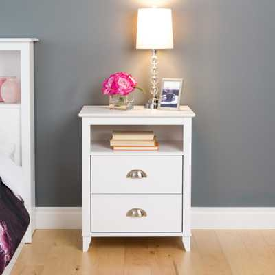 Yaletown 2-Drawer White Nightstand - Home Depot