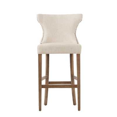 Scarlett 30.5 in. Textured Natural Cushioned Bar Stool in Distressed Oak, Natural Textured - Home Depot