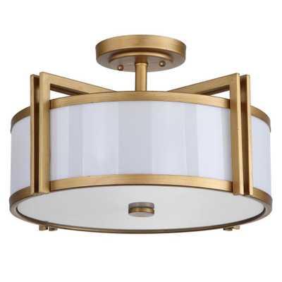 Safavieh Orb 3-Light Antique Gold Semi-Flush Mount Light - Home Depot