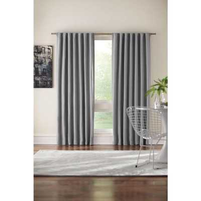 Home Decorators Collection Semi-Opaque Gray Room Darkening Back Tab Curtain - Home Depot