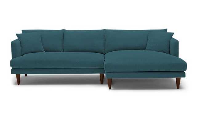 Blue Lewis Mid Century Modern Sectional - Cody Pacific - Mocha - Right - Cylinder Legs - Joybird