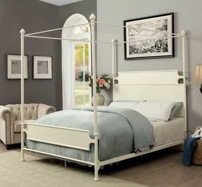 Gracie Oaks Mcrae Canopy Bed: Queen - White - eBay