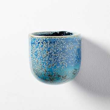 Ceramic Wallscape Planters, Reactive Glaze, Blue, Small - West Elm
