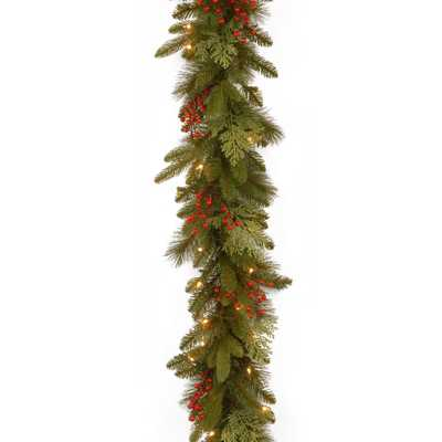 Classical Collection 9 ft. Mixed Evergreen Tip Garland with Clear Lights - Home Depot