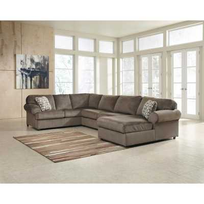 Signature Design by Ashley Jessa Dune Fabric Place Sectional, Brown - Home Depot