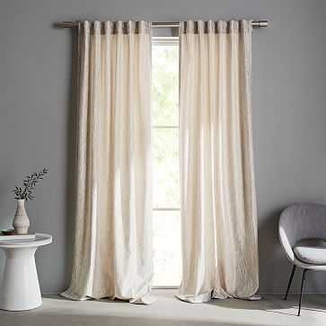 """Abstract Meadow Jacquard Curtain, Platinum, 48""""x84"""" - West Elm"""