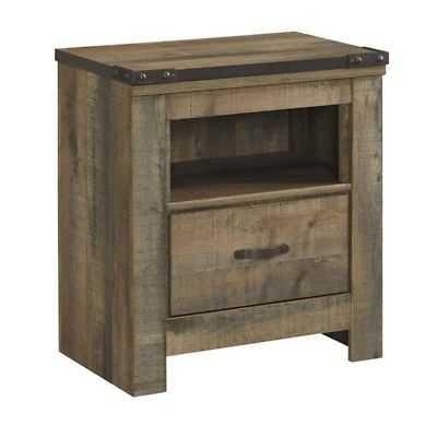 Ashley Trinell 1 Drawer Wood Nightstand in Brown - eBay