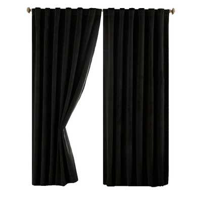 Absolute Zero Blackout Total Blackout Black Faux Velvet Curtain Panel, 63 in. Length - Home Depot