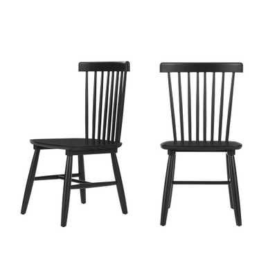 StyleWell Black Wood Windsor Dining Chair (Set of 2) (19.50 in. W x 35 in. H) - Home Depot