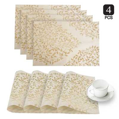 Spring Time Gold Linen-Blend Printed Fabric Placemat (Set of 4), Yellows/Golds - Home Depot