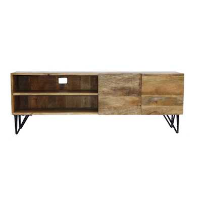 2-Open Shelved Brown Finish TV Unit in Mango Wood - Home Depot