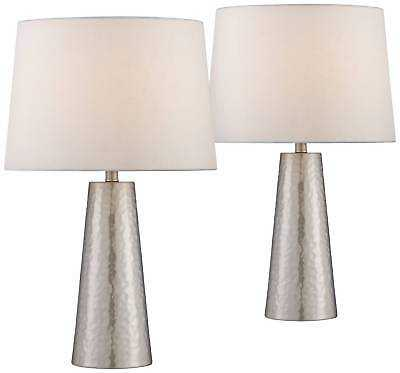 Modern Table Lamps Set of 2 Silver Leaf Hammered Metal Cylinder for Living Room - eBay