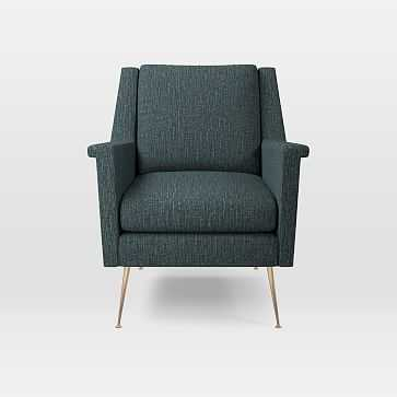 Carlo Mid-Century Chair, Heathered Tweed, Marine, Brass Legs - West Elm