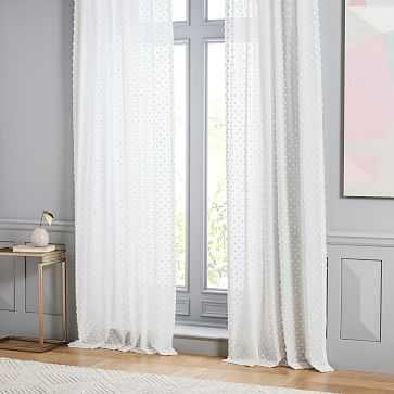 """Candlewick Dot Curtain, Stone White, 48""""x96"""" - West Elm"""