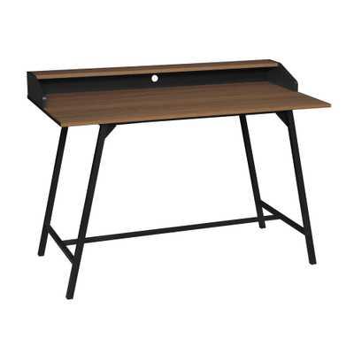 Soho Urban Walnut 2-Tier Office Desk with Black Metal Frame - Home Depot