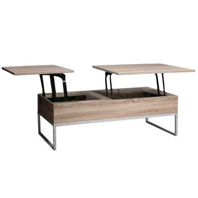 Saele Dark Sonoma Lift Top Storage Coffee Table - Home Depot