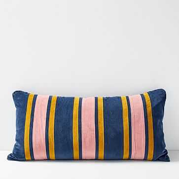 "Christina Lundsteen Ticking Stripe Pillow, 31.5""x15.7"", Midnight - West Elm"