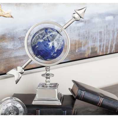 14 in. Modern Blue Aluminum and Plastic Decorative Globe, Multi - Home Depot