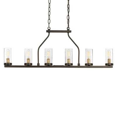 Progress Lighting Hartwell 34 in. 6-Light Antique Bronze Island Chandelier with Clear Seeded Glass and Natural Brass Accents - Home Depot