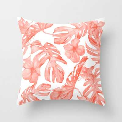 """Tropical Hibiscus And Palm Leaves Dark Coral White Throw Pillow - Indoor Cover (16"""" x 16"""") with pillow insert by Followmeinstead - Society6"""