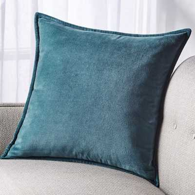 "Brenner Teal Velvet Pillow with Down-Alternative Insert 20"" - Crate and Barrel"