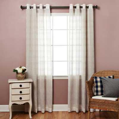 Plaid Sheer Faux Linen Grommet Top Curtain Panels - Birch Lane