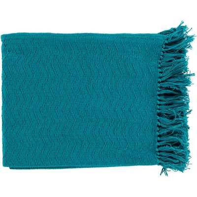 Stanley Teal Cotton Throw, Turquoises/Aquas - Home Depot